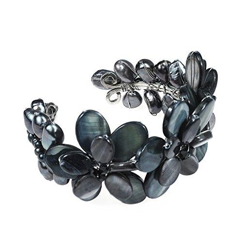 - AeraVida Black Mother of Pearl Cultured Freshwater Pearls Cluster Flower Cuff-Bracelet Tribal Boho
