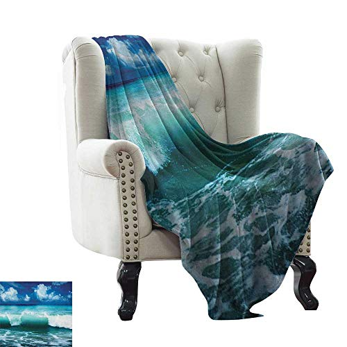 LsWOW Weighted Blanket Adult Ocean,Caribbean Island Coast Seascape Waves Water Splash Surfing Sports Theme, Aqua Navy Blue White Extra Cozy, Machine Washable, Comfortable Home Decor 50