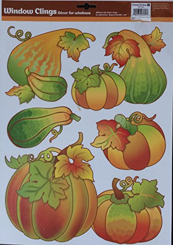 Scarecrow and Cornicopia Autumn Thanksgiving Vinyl Window Clings