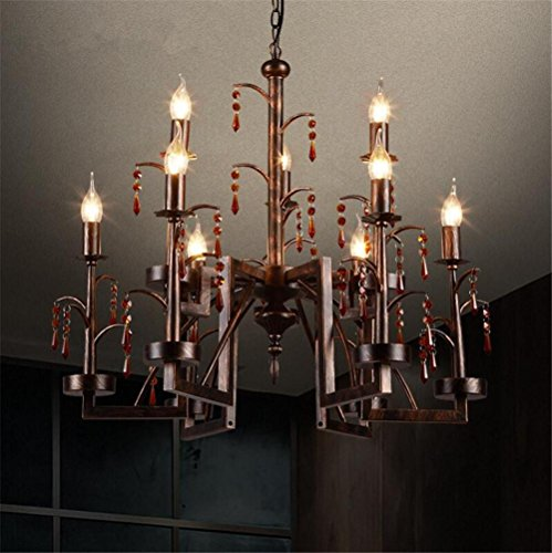 - DHXY Retro Chandelier LOFT Industrial Vintage Rusty Color Wrought Iron Crystal Candle Pendant Ceiling Light 9 Lights For Kitchen, Bar, Cafe, Restaurant