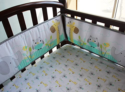 NAUGHTYBOSS Baby Bedding Set Cotton 3D Embroidery Owl Elephant Giraffe Quilt Bumper Bed Skirt Mattress Cover 7 Pieces Multicolor by NAUGHTYBOSS (Image #5)