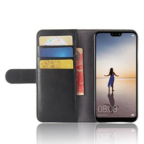 Huawei P20 Lite Funda, Moonmini Ultra Delgada Libro Caso Flip Folio Funda de cuero PU Billetera Ranura de Tarjeta de Crédito Caja antirayas a prueba de choques del teléfono con Cierre Magnético y func Negro