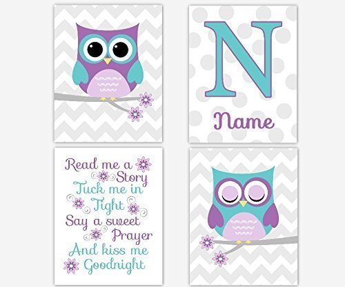 Purple Teal Owl Nursery Wall Art Lavender Owls Read Me A Story Girls Room Wall Decor Personalized Art Nursery Owls Baby Nursery Decor SET OF 4 UNFRAMED PRINTS