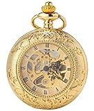 SEWOR Double Open Skeleton Pocket Watch Mechanical Movement Hand Wind Full Hunter Gold Tone C125