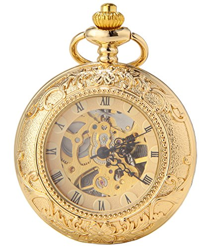 SEWOR Business Double Open Skeleton Pocket Watch Mechanical Hand Wind Movement Full Hunter Gift (Gold Magnifier-1)