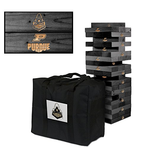 NCAA Purdue Boilermakers Purdue University Onyx Stained Giant Wooden Tumble Tower Game, Multicolor, One Size by Victory Tailgate