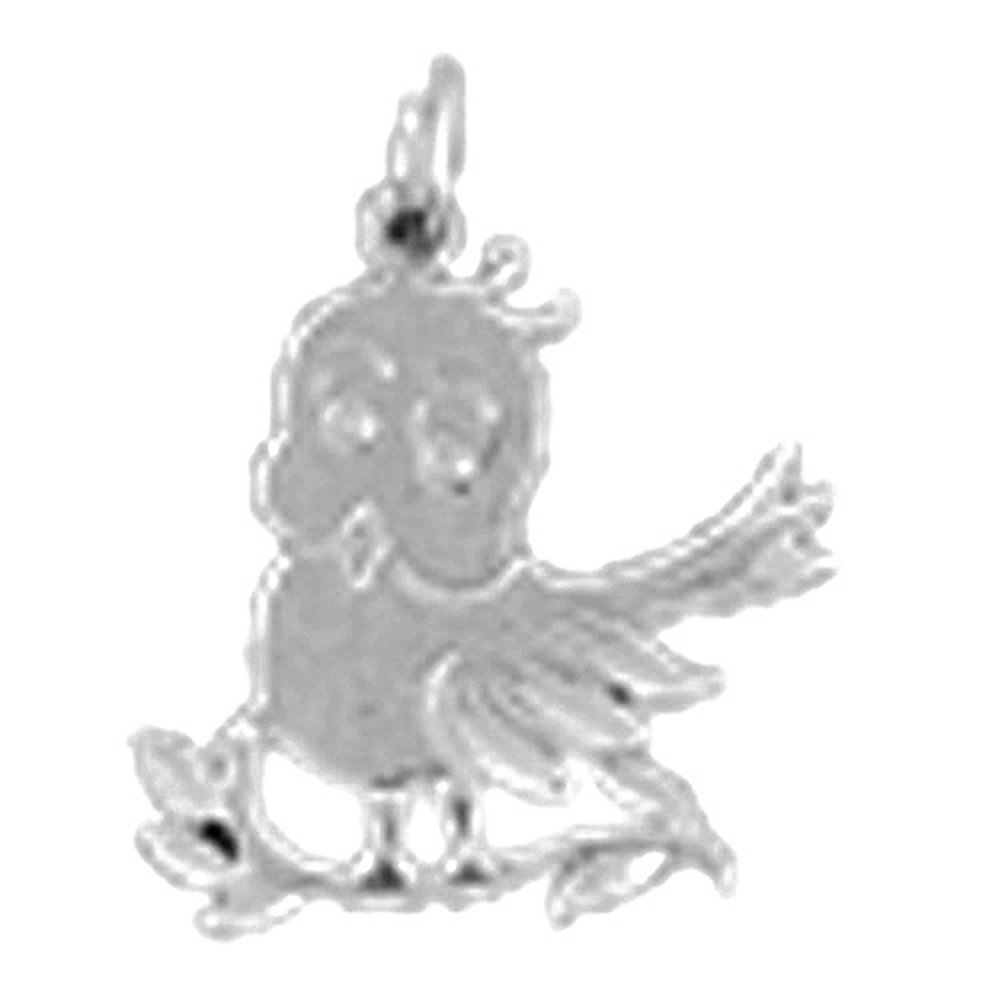 Jewels Obsession Bird Necklace Rhodium-plated 925 Silver Canary Pendant with 24 Necklace