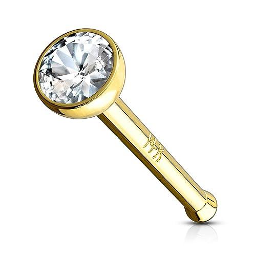 Autiga® Ohr Piercing 14 Karat 585 Echtgold Zirkonia Stecker Tragus Helix