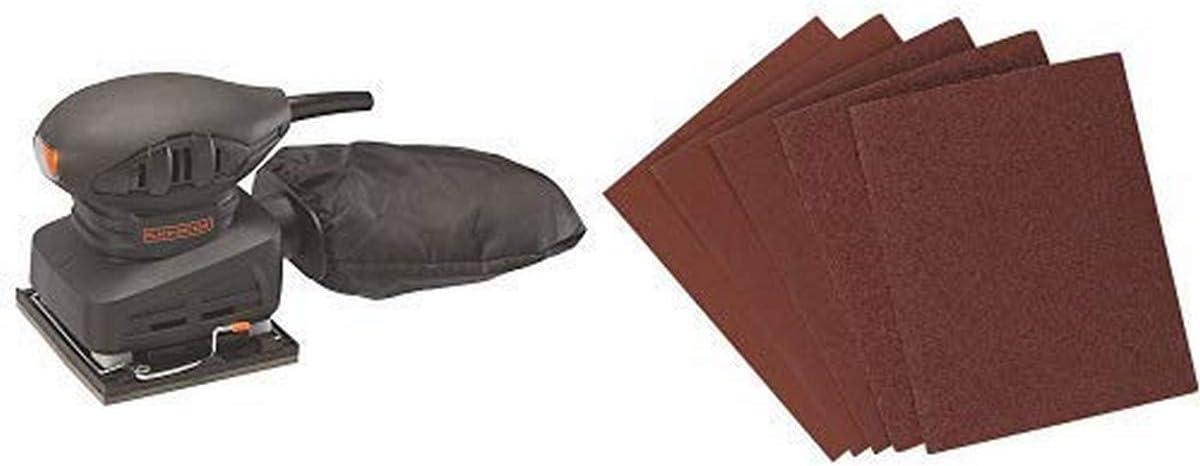BLACK+DECKER BDEQS15C 1/4 Sheet Sander 1.5 Amp with BLACK+DECKER 74-606 1/4-Inch Assorted Sheet Paper 6-Pack