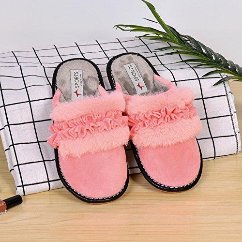 Cotone habuji pantofole per donna home antiscivolo di camera da letto con pavimento in legno ufficio pantofole scarpe donna inverno, 36-37, rosa