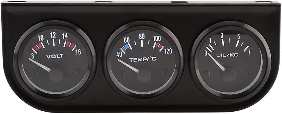 Qiilu 52mm 3 en 1 medidores Voltímetro del sensor + medidor de la temperatura del agua + medidor de presión de aceite para el camión del coche<br/>
