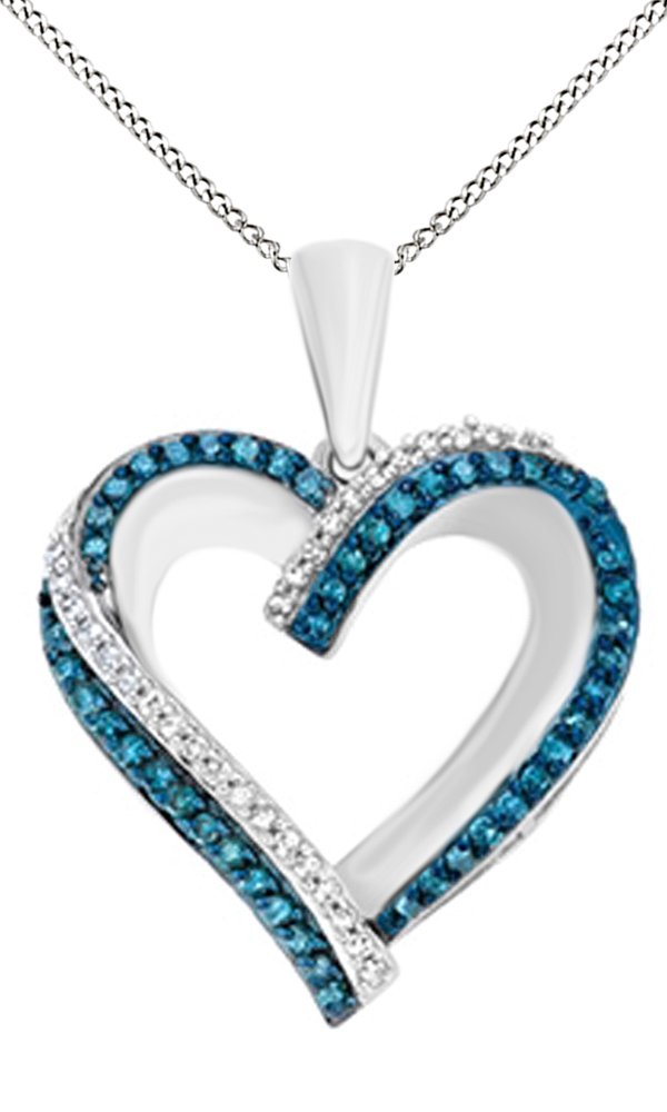 Jewel Zone US White & Blue Natural Diamond Heart Pendant Necklace in 14k White Gold Over Sterling Silver (0.25 Ct)