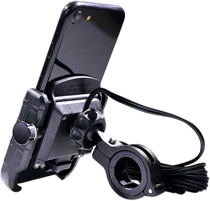 Motorcycle Bicycle Phone Holder Handlebar Clip Stand Bike Stand Aluminum Mount Motobike QC3.0 Fast Charging Bracket 360 Rotating Black