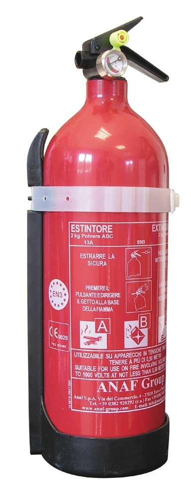 Cora 000126804 -- Extintor de polvo 2 kg, Clase 8A 70B -C con soporte Anaf Spa