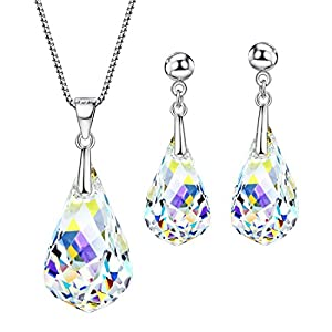 NEOGLORY Jewelry Sets Teardrop Pendant Crystal Transparent Necklaces Earrings Bridal Wedding Women Embellished with…