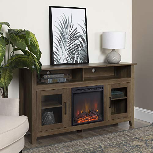 Home Accent Furnishings New 58 Inch Wood Highboy Fireplace TV Stand - Rustic Oak Color (Oak Highboy Stand Tv)