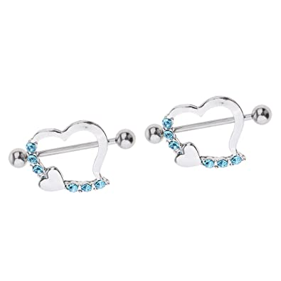 1 Pair Stainless Steel 16g Ring Leaning Heart Two Hearts Crystal NippleRings