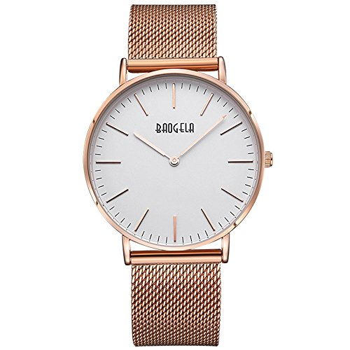 Women's Rose Goldtone Mesh Stainless Steel Slim Mid-Size Wrist Watch - Ladies Watches BAGOELA (Spring Mid Watch)