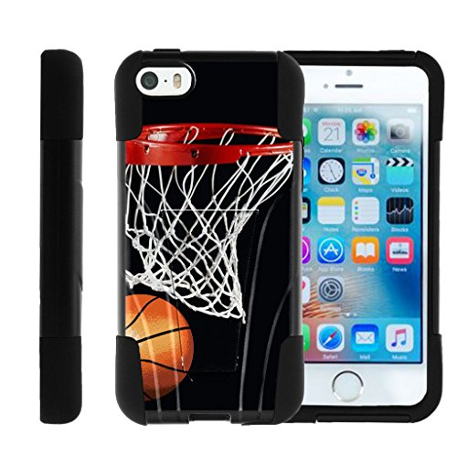 MINITURTLE Case Compatible w/ Apple iPhone SE case, iPhone 5 Case , iPhone 5s Cover Dual Layer Shell STRIKE Impact Cover w/ Graphic Images MINITURTLE Basketball Swish