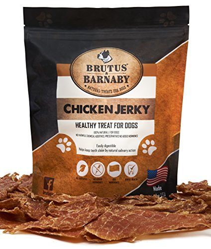 Brutus & Barnaby Chicken Jerky Dog Treats- Dehydrated Crunchy USA Premium Fillets, Grain-Free, Preservative-Free, No Fillers. All Natural Chicken Strips are Great for Dogs and Cats (10oz)