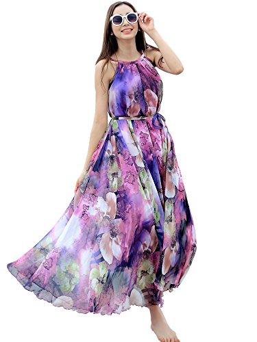- Medeshe Women's Chiffon Floral Holiday Beach Bridesmaid Maxi Dress Sundress (XX-Large Tall, Purple Floral)