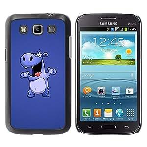 QCASE / Samsung Galaxy Win I8550 I8552 Grand Quattro / hipopótamo de dibujos animados dibujo gran baile animales / Delgado Negro Plástico caso cubierta Shell Armor Funda Case Cover