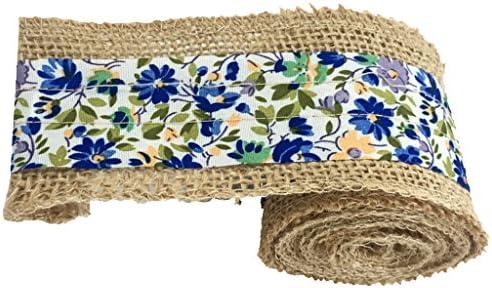ファブリック リネン リボン レース ロール 手作り 花束縛リ ウエディング パーティー 装飾 全8色 - 青