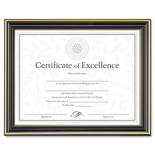 DAX N2709N6T Gold-Trimmed Document Frame w/Certificate, Wood, 8 1/2 x 11, Black ()