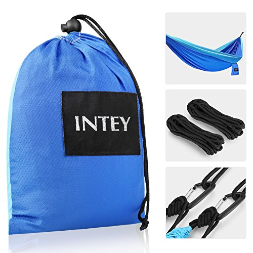 INTEY Camping Hammock 2 Person Hammock Portable Hammock Max 660lbs Breaking Capacity with 12KN Carabiners & 10FT Ropes, Parachute Hammock for Outdoors Backpacking Camping Hiking Travel. 118