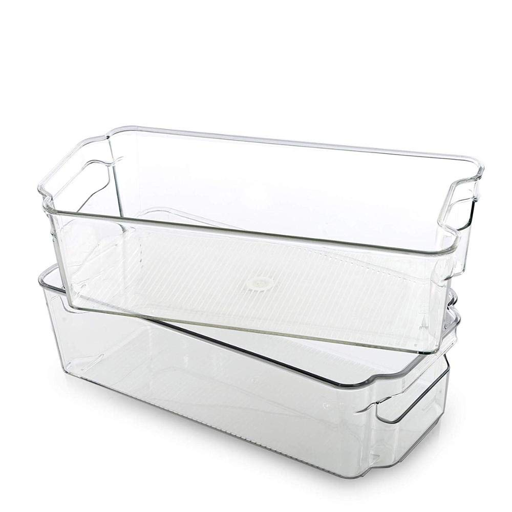 Clear Stackable Storage Containers Fridge Food Bins Freezer Organizer Bin Set Acrylic Bin with Handle for Home Refrigerator by XISXI (Pack of 6)