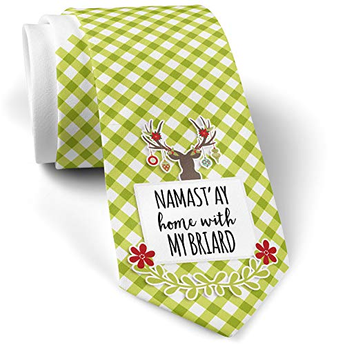 - Green Plaid Christmas Neck Tie Namast'ay Home With My Briard Simple Sayings gift for men