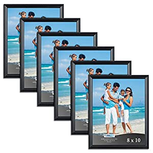 Icona Bay Black Picture Frames Bulk Set (8 x 10 Inch, 6 Pack), Wall Mount Hangers and Table Top Easel Included, Display Horizontally or Vertically, Inspirations Collection