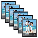 Icona Bay 8x10 Picture Frames (6 Pack, Black) Black Picture Frame Set, Wall Mount or Table Top, Set of 6 Inspirations Collection