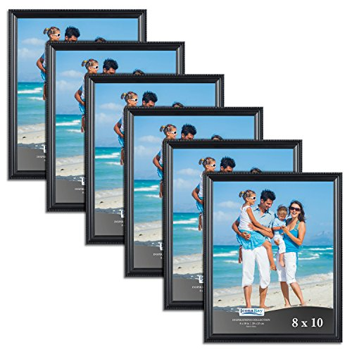 Icona Bay 8x10 Picture Frames (6 Pack, Black) Black Picture Frame Set, Wall Mount or Table Top, Set of 6 Inspirations Collection]()