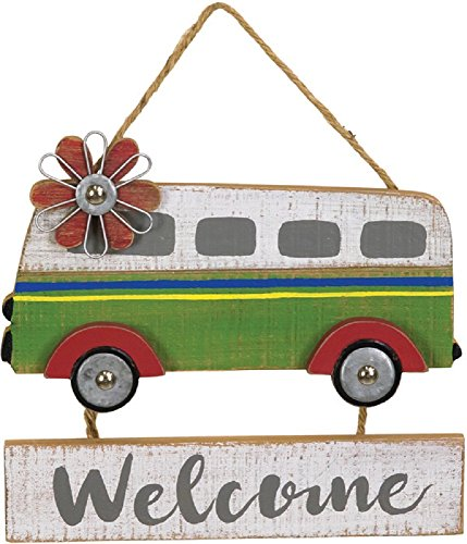 Happy Camper Welcome Retro Style Hanging Sign