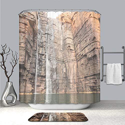 BEICICI Custom Personalized Shower Curtain and Floor Mat King George River Falls Kimberley Coast Stylish,Waterproof,Mildew Proof Bathroom Set