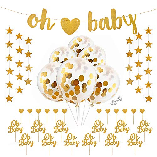 Oh Baby Banner Garland Star Banner Oh Baby Balloons Oh Baby Heart Cake Cupcake toppers Oh Baby Balloons for Baby Shower Birthday Gender Reveal Party Decorations