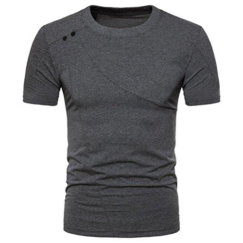 Bluestercool Fashion Hommes Casual Slim Manches Courtes Col Rond T-shirt Top Gris foncé