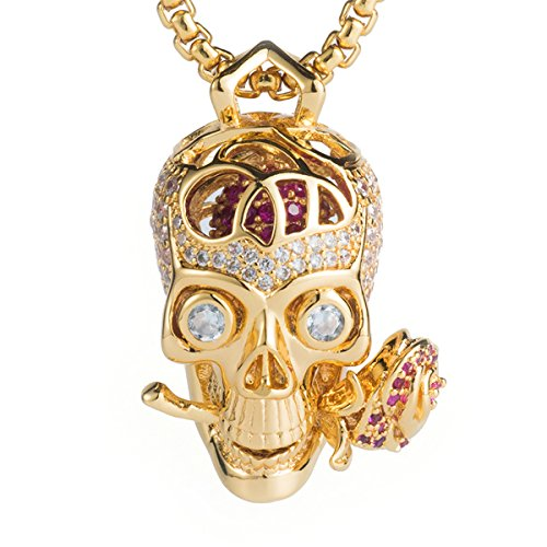 Pirate Skull Cameo Necklace (Karseer Bling 3D Filigree Gold Sugar Skull and For Ever Rose Charm Pendant, Floating Crystal Brain Represents Faith, Hope and Love's Necklace for Men and Women Halloween Gift, 24
