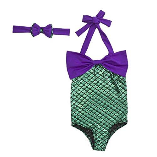 [PGXT Girl's One Piece Mermaid Bikini Set Swimwear Swimsuit Bathing Suit+Headband 100CM] (Cute Kiddie Costumes)
