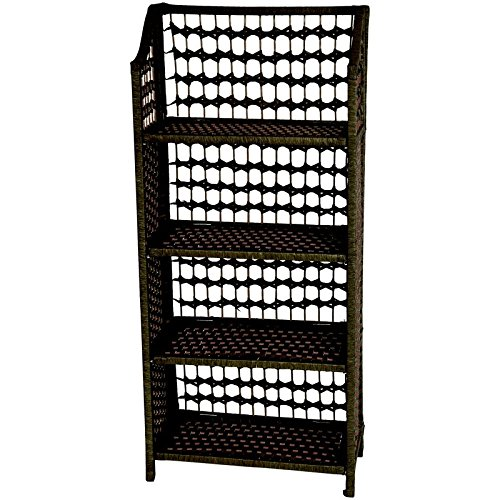 Oriental Furniture Simple All Natural Unique Book Case, 43-Inch Collapsible Fiber 4 Shelf Unit, Black JH09-018-4-BLK OFN2679