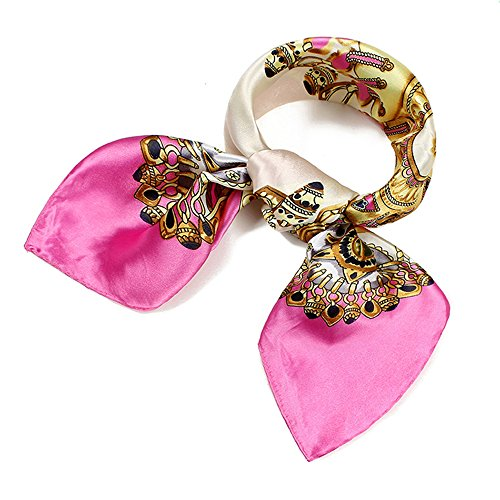 (QBSM Womens Square Satin Silk Neck Head Hair Scarf Wraps Neckerchief for Sleeping Beige Pink)