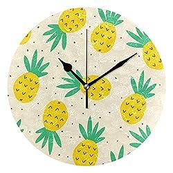 Ladninag Wall Clock Tropical Watercolor Pineapple Pattern Silent Non Ticking Decorative Round Digital Clocks Indoor Outdoor Kitchen Bedroom Living Room