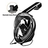 Snorkeling Mask, ZSPORT Easybreath Full Face Diving Mask GoPro Compatible,See More With Larger Viewing Area Than Traditional Masks with Anti-Fog and Anti-Leak Technology (Black, L/XL)