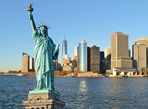 Wooden Jigsaw Puzzle Statue of Liberty Liberty Island in New York Harbor NYC Skyline 500-Pieces