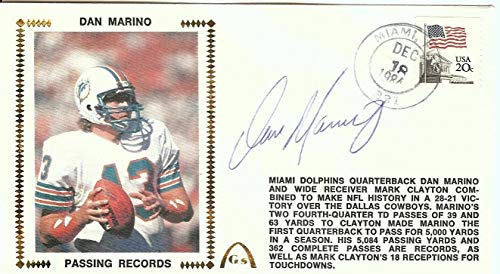 Dan Marino Signed Autograph First Day Cover Cachet 1984 Passing Record JSA Authentic V46988