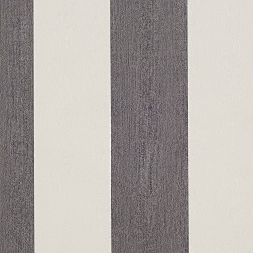 Romosa Wallcoverings Carnival Smoke Black and White Wallpaper Awning Stripe Roll Decor - Gray Stripe Wallpaper