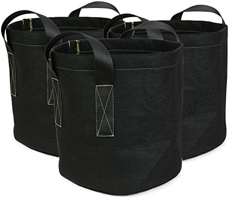 Ipomelo 3-Pack 5 Gallon Fabric Growing Bags Thickened Garden Pots Plant Container w Sturdy Nylon Handles