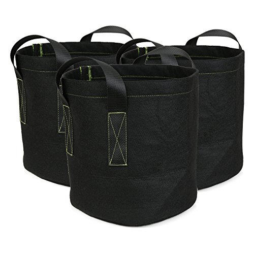 Ipomelo 3-Pack 9 Gallon Fabric Growing Bags Thickened Garden Pots Plant Container w/Sturdy Nylon Handles