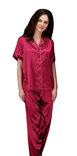 NiSeng amantes albornoces seda manga corta camisa y pantalón Pijama para hombre: Amazon.es: Ropa y accesorios